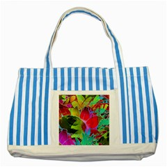 Floral Abstract 1 Blue Striped Tote Bag by MedusArt