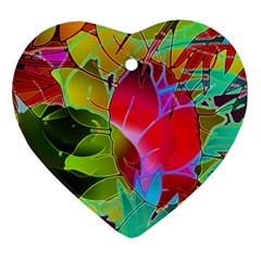 Floral Abstract 1 Heart Ornament (two Sides) by MedusArt
