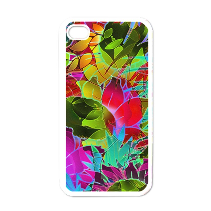 Floral Abstract 1 Apple iPhone 4 Case (White)
