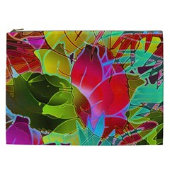 Floral Abstract 1 Cosmetic Bag (xxl) by MedusArt