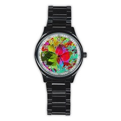 Floral Abstract 1 Sport Metal Watch (black) by MedusArt
