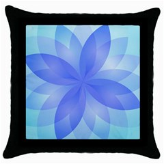 Abstract Lotus Flower 1 Black Throw Pillow Case by MedusArt