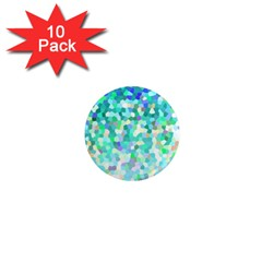 Mosaic Sparkley 1 1  Mini Button Magnet (10 Pack) by MedusArt