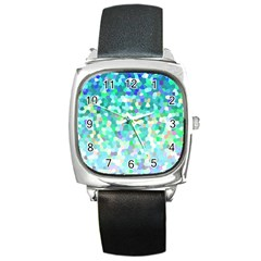 Mosaic Sparkley 1 Square Leather Watch by MedusArt