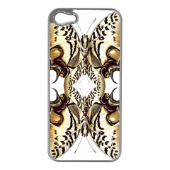Butterfly Art Ivory&brown Apple Iphone 5 Case (silver) by BrilliantArtDesigns