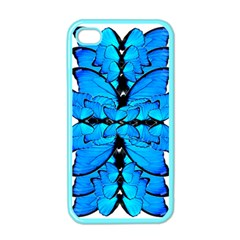 Butterfly Art Blue&cyan Apple Iphone 4 Case (color) by BrilliantArtDesigns