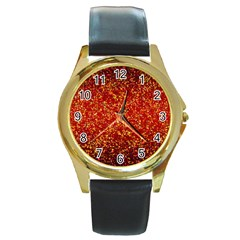 Glitter 3 Round Leather Watch (gold Rim)  by MedusArt