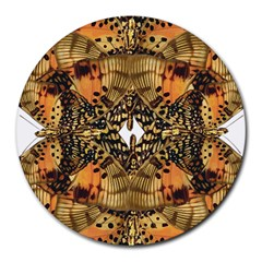 Butterfly Art Tan & Orange 8  Mouse Pad (round) by BrilliantArtDesigns