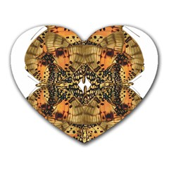 Butterfly Art Tan & Orange Mouse Pad (heart) by BrilliantArtDesigns