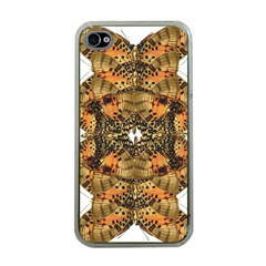 Butterfly Art Tan & Orange Apple Iphone 4 Case (clear) by BrilliantArtDesigns