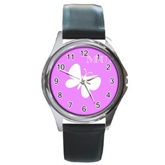 Mom Round Leather Watch (silver Rim)