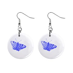 Decorative Blue Butterfly Mini Button Earrings by Colorfulart23