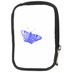 Decorative Blue Butterfly Compact Camera Leather Case by Colorfulart23