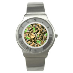 Retro Swirl Stainless Steel Watch (slim) by Colorfulart23