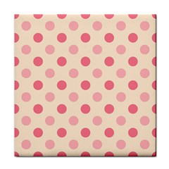 Pale Pink Polka Dots Ceramic Tile by Colorfulart23