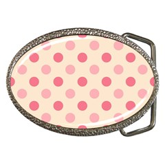 Pale Pink Polka Dots Belt Buckle (oval) by Colorfulart23