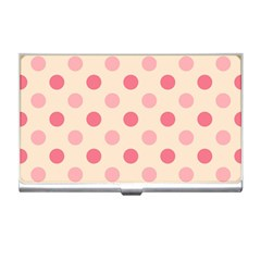 Pale Pink Polka Dots Business Card Holder by Colorfulart23