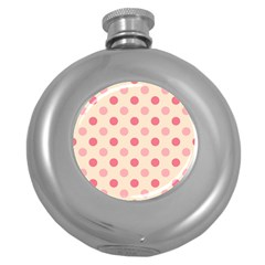 Pale Pink Polka Dots Hip Flask (round) by Colorfulart23