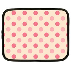 Pale Pink Polka Dots Netbook Sleeve (xl) by Colorfulart23