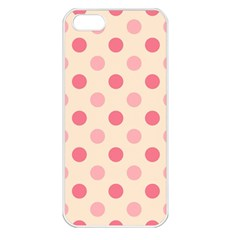 Pale Pink Polka Dots Apple Iphone 5 Seamless Case (white) by Colorfulart23