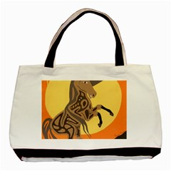 Embracing The Moon Twin Sided Black Tote Bag by twoaboriginalart