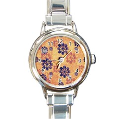 Funky Floral Art Round Italian Charm Watch by Colorfulart23