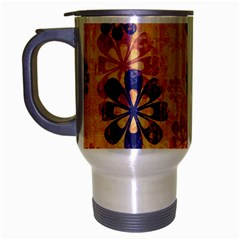 Funky Floral Art Travel Mug (silver Gray) by Colorfulart23