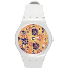 Funky Floral Art Plastic Sport Watch (medium) by Colorfulart23