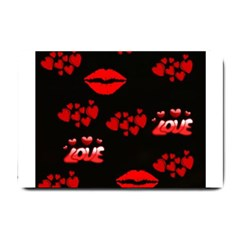 Love Red Hearts Love Flowers Art Small Door Mat by Colorfulart23