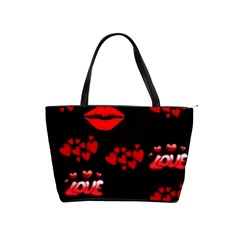 Love Red Hearts Love Flowers Art Large Shoulder Bag