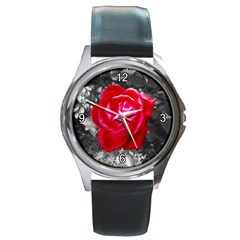 Red Rose Round Leather Watch (silver Rim)