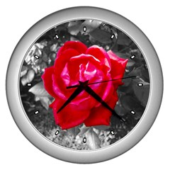 Red Rose Wall Clock (silver)