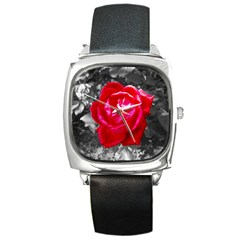 Red Rose Square Leather Watch