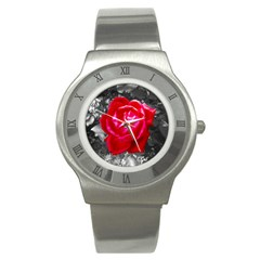 Red Rose Stainless Steel Watch (slim) by jotodesign