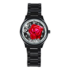 Red Rose Sport Metal Watch (black) by jotodesign