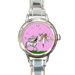 Unicorn And Fairy In A Grass Field And Sparkles Round Italian Charm Watch by goldenjackal
