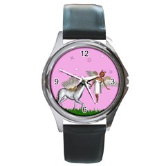 Unicorn And Fairy In A Grass Field And Sparkles Round Leather Watch (silver Rim) by goldenjackal