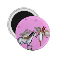 Unicorn And Fairy In A Grass Field And Sparkles 2 25  Button Magnet by goldenjackal