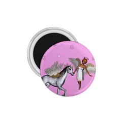 Unicorn And Fairy In A Grass Field And Sparkles 1 75  Button Magnet by goldenjackal