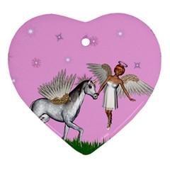 Unicorn And Fairy In A Grass Field And Sparkles Heart Ornament by goldenjackal
