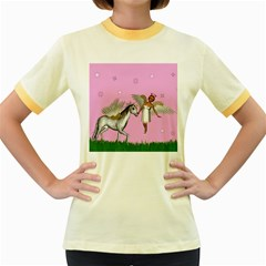 Unicorn And Fairy In A Grass Field And Sparkles Women s Ringer T Shirt (colored) by goldenjackal