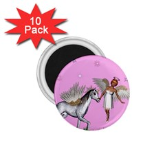Unicorn And Fairy In A Grass Field And Sparkles 1 75  Button Magnet (10 Pack) by goldenjackal
