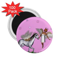 Unicorn And Fairy In A Grass Field And Sparkles 2 25  Button Magnet (100 Pack) by goldenjackal