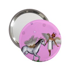 Unicorn And Fairy In A Grass Field And Sparkles Handbag Mirror (2 25 ) by goldenjackal