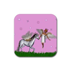 Unicorn And Fairy In A Grass Field And Sparkles Drink Coaster (square) by goldenjackal