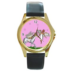 Unicorn And Fairy In A Grass Field And Sparkles Round Leather Watch (gold Rim)  by goldenjackal
