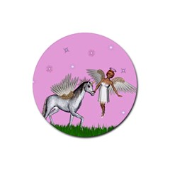 Unicorn And Fairy In A Grass Field And Sparkles Drink Coaster (round) by goldenjackal