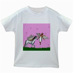 Unicorn And Fairy In A Grass Field And Sparkles Kids T Shirt (white) by goldenjackal