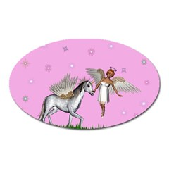Unicorn And Fairy In A Grass Field And Sparkles Magnet (oval) by goldenjackal