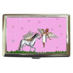 Unicorn And Fairy In A Grass Field And Sparkles Cigarette Money Case by goldenjackal